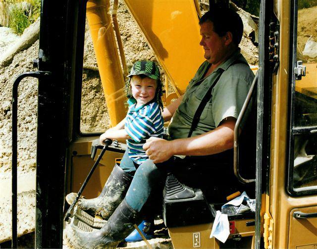 Steven Brown and his son at work at Branxholme